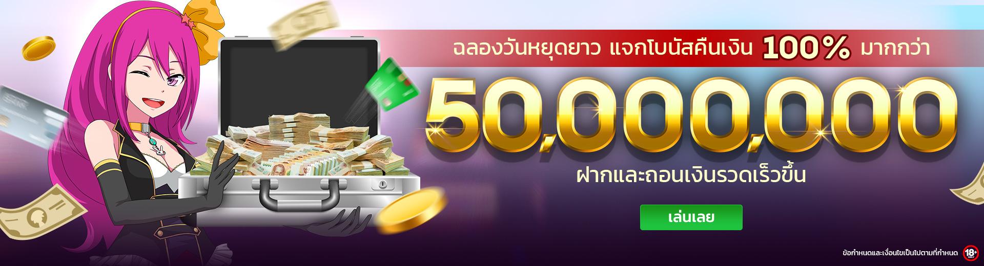 ฉลองวันหยุดยาว แจกโบนัสคืนเงิน สูงถึง 50ล้าน ที่ LuckyNiki